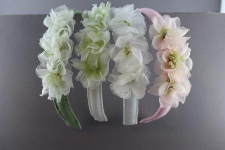 Cerchietto con 3 fiori in seta e organza BSC44 Passapò
