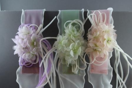 prezzo abbordabile ricco e magnifico nuovo massimo Cintura in canetè e voile con fiori in organza di seta con fiocchi in  tubolare CTC-44