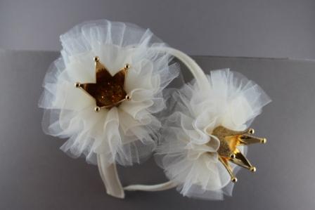 venduto in tutto il mondo goditi un grande sconto stile alla moda Cerchietto Principessa con coccarda in tulle coroncina e swarovski BSC-862